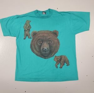 Vintage 90s black bear teal blue xl tshirt